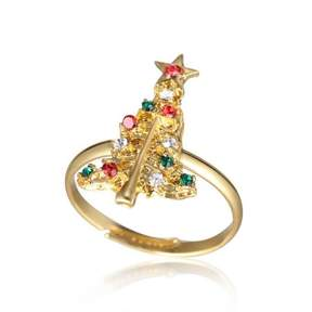 Alpha A A Christmas Gold Tone Holiday Tree Adjustable Ring