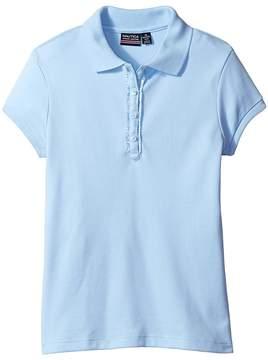 Nautica Short Sleeve Polo with Ruffle Placket Girl's Short Sleeve Pullover