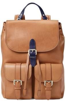 Aspinal of London | Oxford Backpack In Smooth Natural Tan Navy | Smooth natural tan