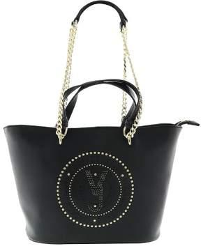 Versace EE1VRBBQ7 Black Tote Bag W/ chain strap