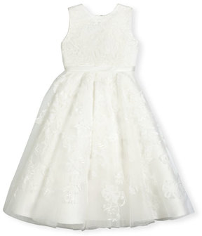Joan Calabrese Sleeveless Embroidered Tulle Special Occasion Dress, Ivory, Size 4-14