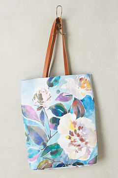 Anthropologie Painted Florals Tote Bag