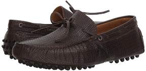 Matteo Massimo Woven Stamped Leather Lace Driver Men's Slip-on Dress Shoes