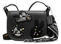 Disney Mickey Mouse Patch Patricia Leather Saddle Bag by COACH - Black