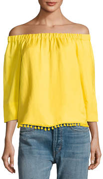 Joan Vass Off-The-Shoulder Pompom Top
