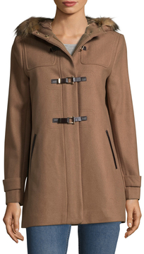 Cole Haan Women's Faux Fur-Trimmed Wool Coat