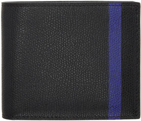 Valextra Black and Blue Stripe 6CC Bifold Wallet