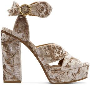 Chloé Pink Velvet Platform Sandals