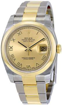 Rolex Datejust 36 Automatic Champagne Dial Stainless Steel and 18kt Yellow Gold Oyster Bracelet Men's Watch