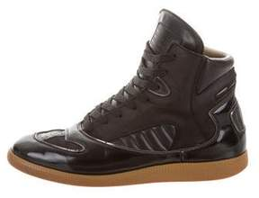 Maison Margiela High-Top Leather-Trimmed Sneakers