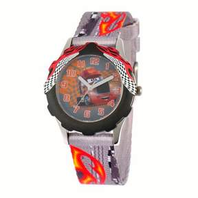 Disney Boys' Stainless Steel Case with Bezel Watch, Printed Fabric Strap