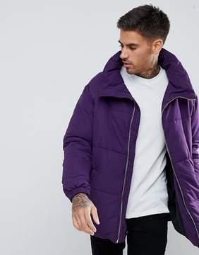 Pull&Bear Puffer Jacket In Purple