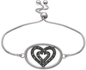 Brilliance+ Brilliance Silver Plated Marcasite Double Heart Bolo Bracelet