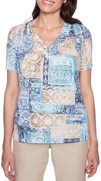 Alfred Dunner Blues Traveler Short Sleeve V Neck T-Shirt-Womens