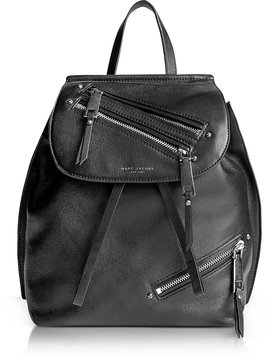 Marc Jacobs Black Leather Zip Pack Backpack - BLACK - STYLE