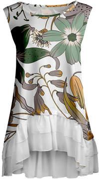 Lily White & Green Floral Ruffle-Hem Sleeveless Tunic - Women & Plus