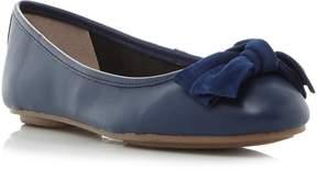 Dune London HYPNOTISE - NAVY Bow Detail Unlined Ballerina Shoe