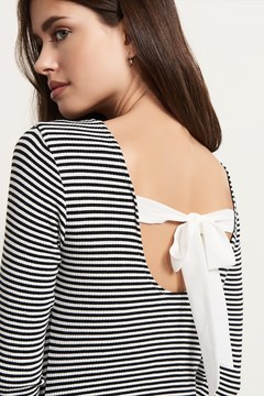 Dynamite Striped Open Back Bodysuit With Tie
