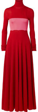 Calvin Klein Two-tone Ribbed Silk And Wool-blend Maxi Dress - Red