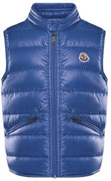 Moncler Gui Down Puffer Vest, Blue, Size 8-14