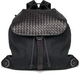 Bottega Veneta Woven Flap Backpack