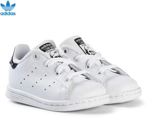 adidas White and Shiny Black Infants Stan Smith Trainers