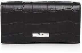 Longchamp Roseau Croc-Embossed Continental Wallet - BLACK - STYLE