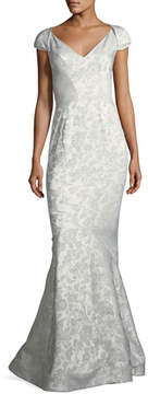 Zac Posen Party Jacquard Sweetheart-Neck Cap-Sleeve Evening Gown
