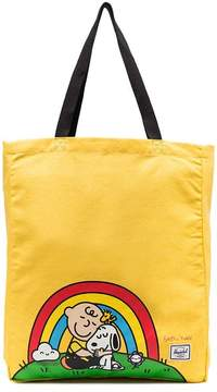 Herschel yellow Snoopy print cotton tote bag