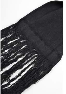 Isabel Marant Pre-owned Black Woven Cotton Shredded Fringe Extra Long Skinny Scarf.