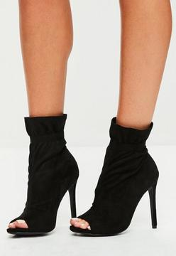 Missguided Black Gathered Ankle Peeptoe Boots