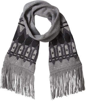 Joe Fresh Women's Metallic Fair Isle Knit Scarf, Charcoal Mix (Size O/S)