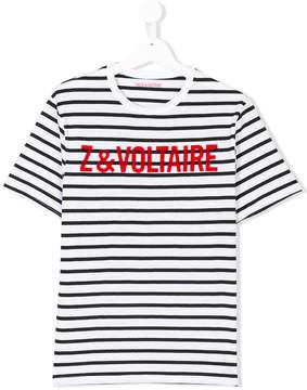 Zadig & Voltaire Kids TEEN striped logo T-shirt
