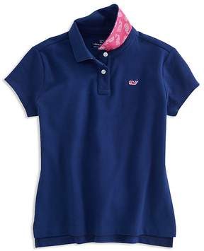 Vineyard Vines Girls' Polo Shirt with Contrast Print Under Collar - Little Kid