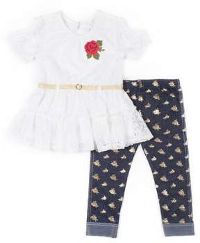 Little Lass Baby Girl's Lace Top and Floral Pant Set