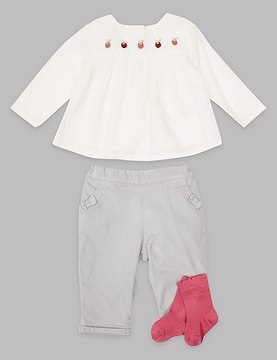 Marks and Spencer 3 Piece Top & Cord Trousers with Socks Outfit