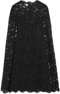 Valentino Cape-effect Lace Mini Dress - Black