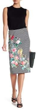 ECI Floral Striped Pencil Skirt