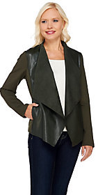 Denim & Co. As Is Faux Leather Cardigan with Ponte Sleeves