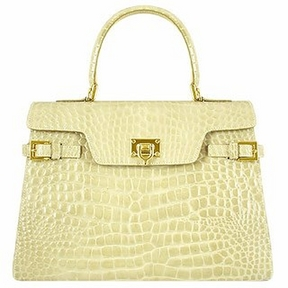 Fontanelli Shiny Sand Croco-style Leather Handbag