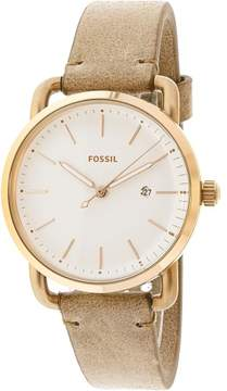 Fossil The Commuter White Dial Ladies Sand Leather Watch ES4335