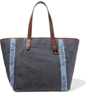 J.W.Anderson Leather-trimmed Logo-printed Canvas Tote - Blue