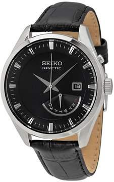 Seiko Kinetic Black Dial Black Leather Men's Watch