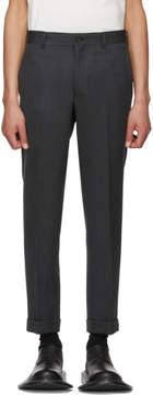 Comme des Garcons Black and Grey Wool Herringbone Trousers