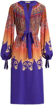 Etro Tie-waist paisley-print silk-georgette dress