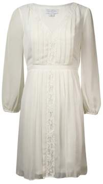 Jessica Simpson Women's Lace-trim Pleated Dress (4, Pearl)