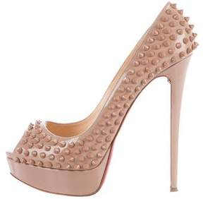 Christian Louboutin Lady Peep Studded Pumps