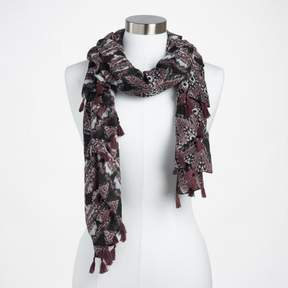 World Market Taupe and Silver Foil Print Scarf