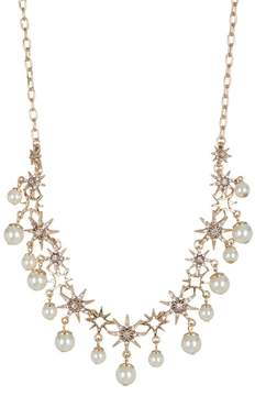 Jenny Packham Prong Set Glass Crystal & Imitation Pearl Star Collar Necklace