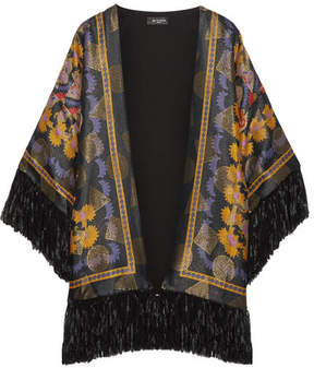 Etro Fringed Printed Jacquard Kimono - Black